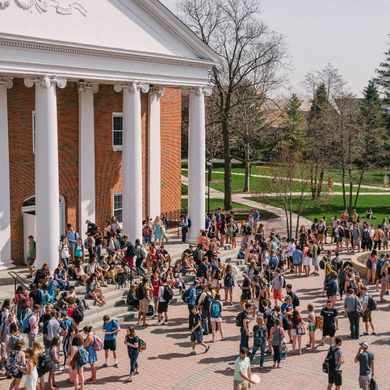 Edman Chapel Exterior with Crowd of Students After Chapel at Wheaton College IL