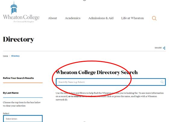A screen shot of the search bar of the Wheaton Directory