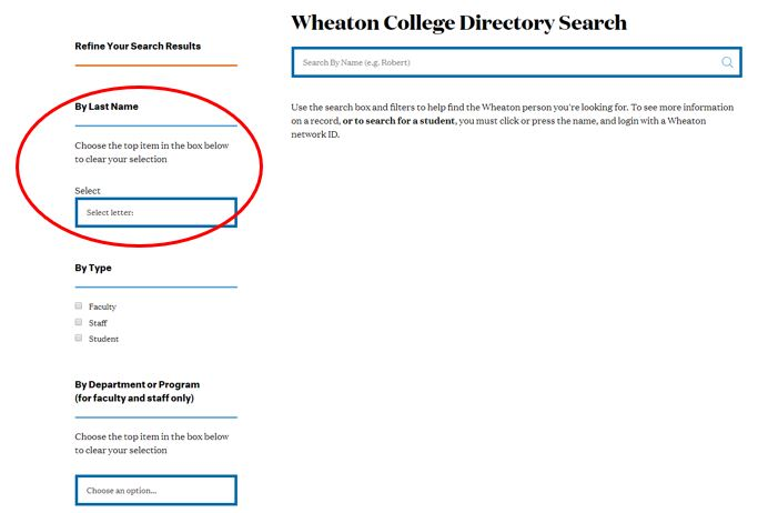 Screen Shot of the Search by Name function of the Wheaton Directory
