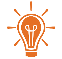 An orange icon of a lightbulb