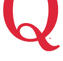 A large red letter Q