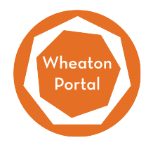 An orange circle with a white polygon inside and the words Wheaton Portal