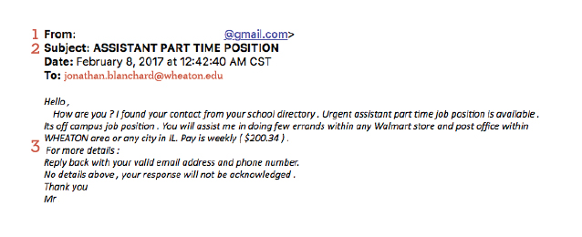 A screenshot of a phishing attempt advertising an assistant part time position for Wheaton College students