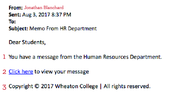 A screenshot of a phishing attempt that appeared to be sent from Wheaton College's Human Resources Department