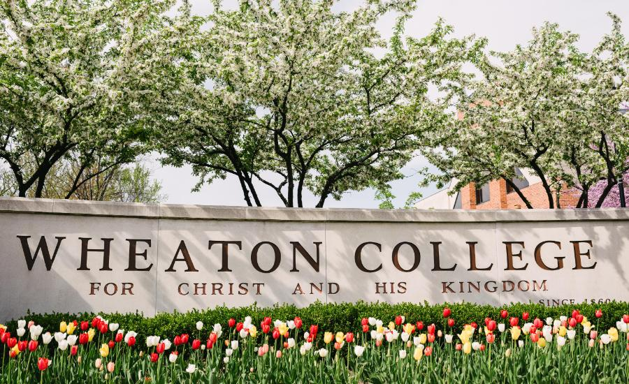 Wheaton College IL Sign with Tulips