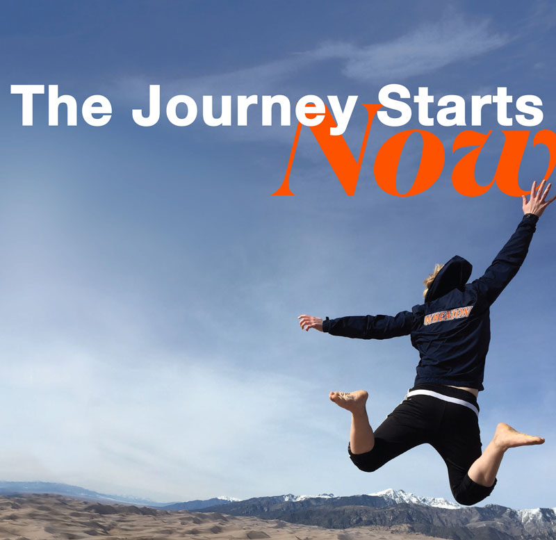 Student Jumping with text The Journey Starts Now