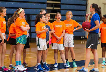 Summer activities at Wheaton College - girl's basketball