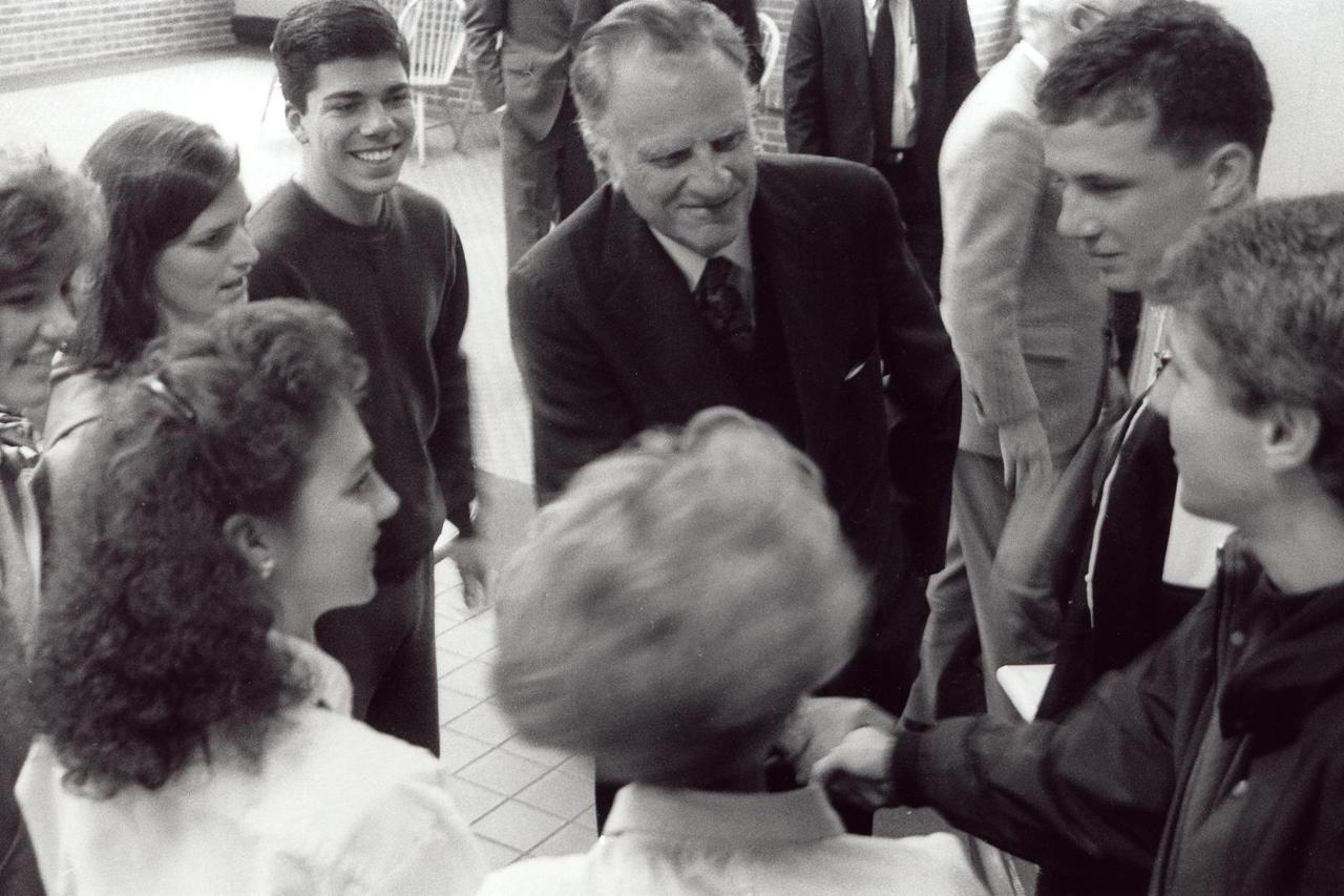 Billy Graham with Wheaton Students
