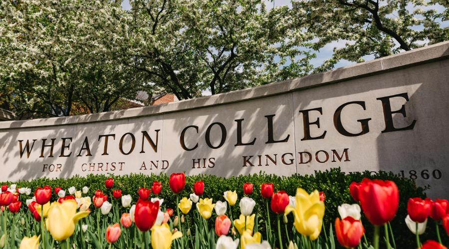 Wheaton College Sign with Tulips in Spring