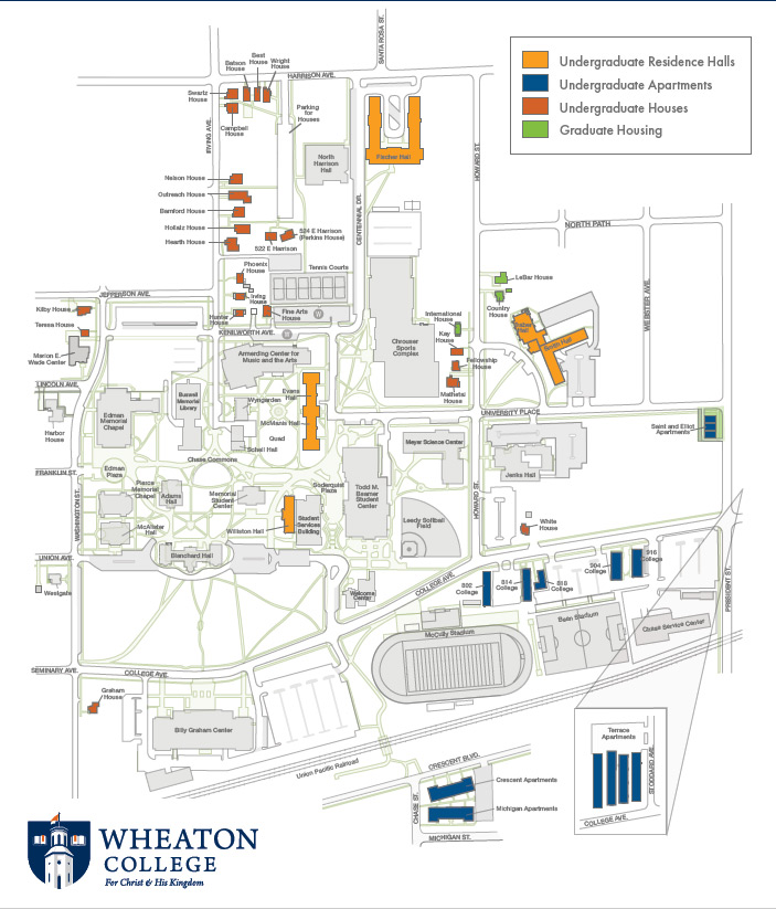 Wheaton College campus map for residence halls Wheaton IL uploaded 12-14-2020
