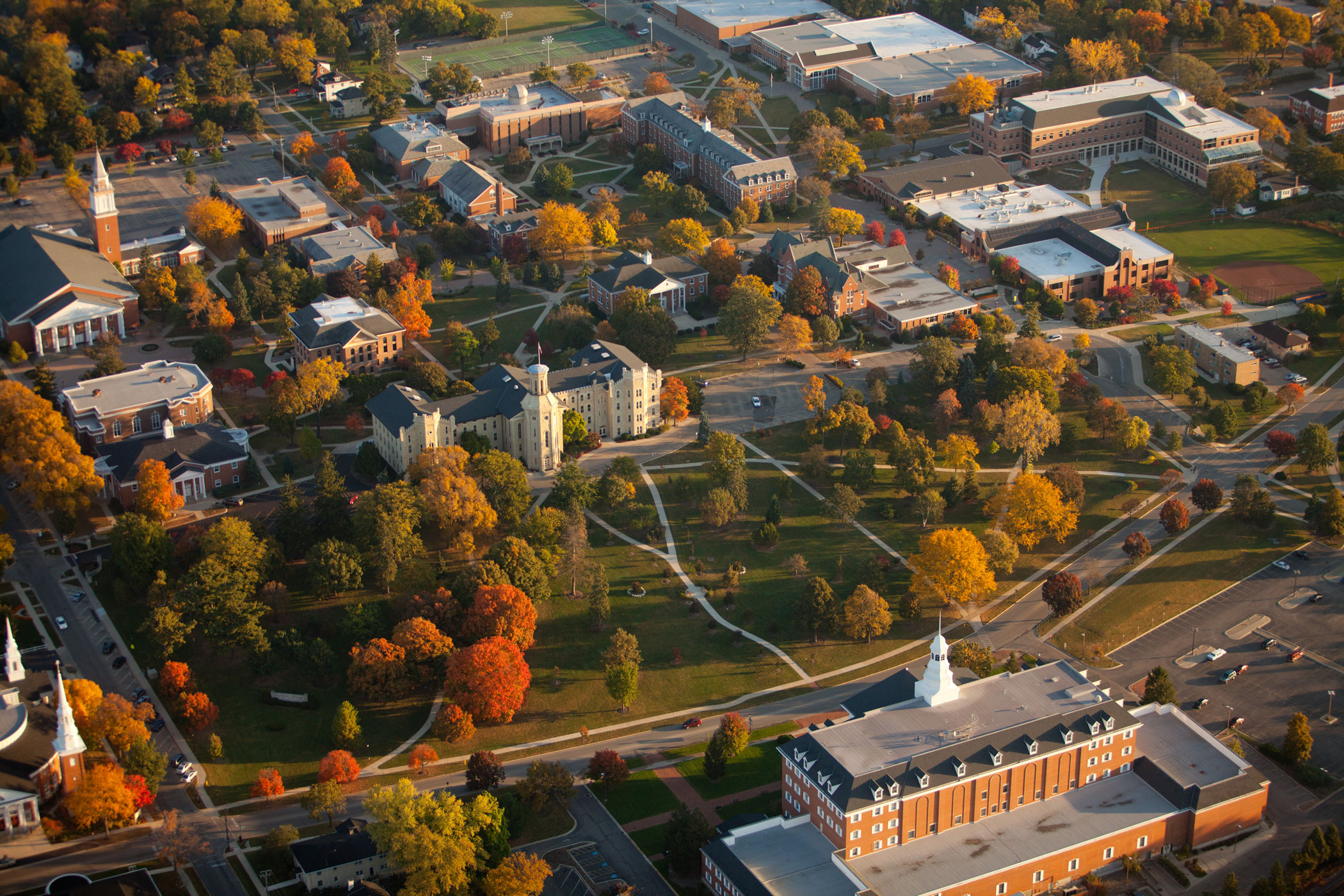 Aerial view of Wheaton College campus