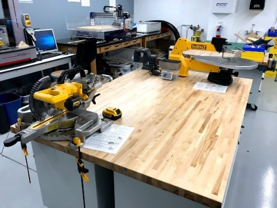 Hand Tools, Scroll Saw, Miter Saw in Wheaton College IL Engineering Lab
