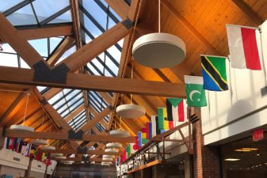 international flags in the Anderson Commons at Wheaton College