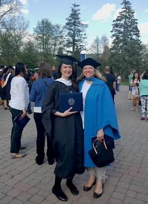 A Professor and Graduate Student at commencement