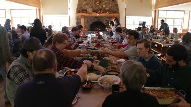 Vanguards and families at Thanksgiving dinner at HoneyRock, Three Lakes WI