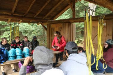 Maggie prepping Vanguard students for challenge course