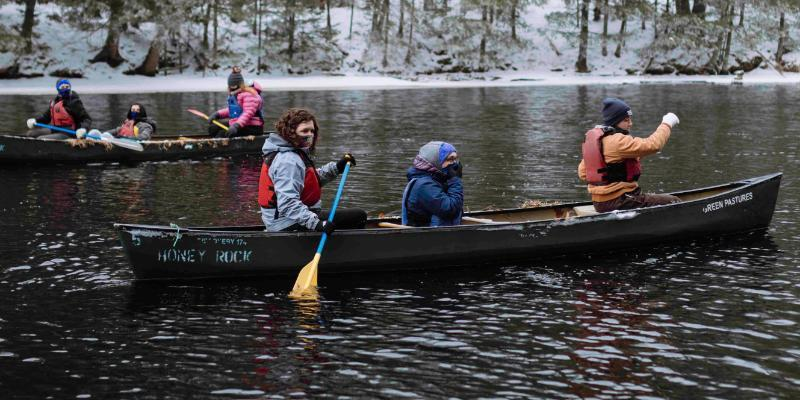 winter canoeing at honeyrock