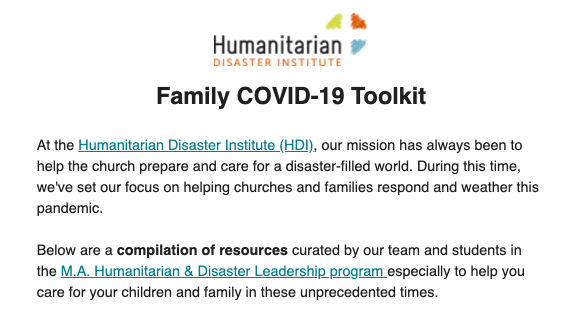 COVID-19 Family Toolkit screenshot