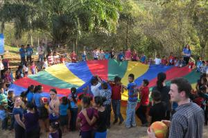 children game with large parachute