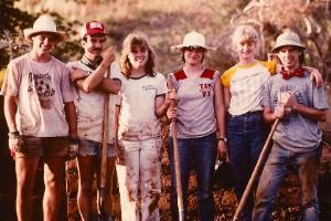 Honduras Project students with shovels in 1983