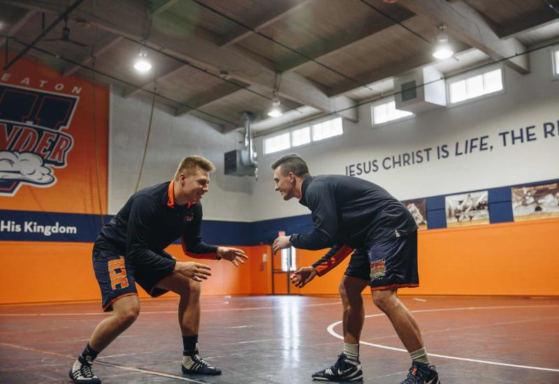 Pete Willson Wrestling Room and Wheaton College Wrestlers