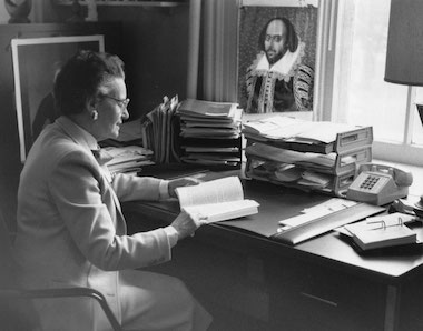 Beatrice Batson at her desk