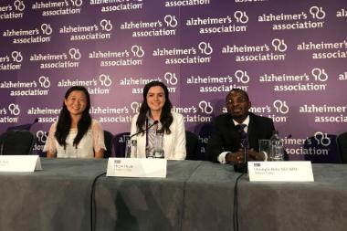 Students and professor present at the Alzheimer's Association International Conference