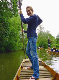Holly Moore '12 punting on the Isis River, the branch of the River Thames located in Oxford, as part of the post-final's week celebration.