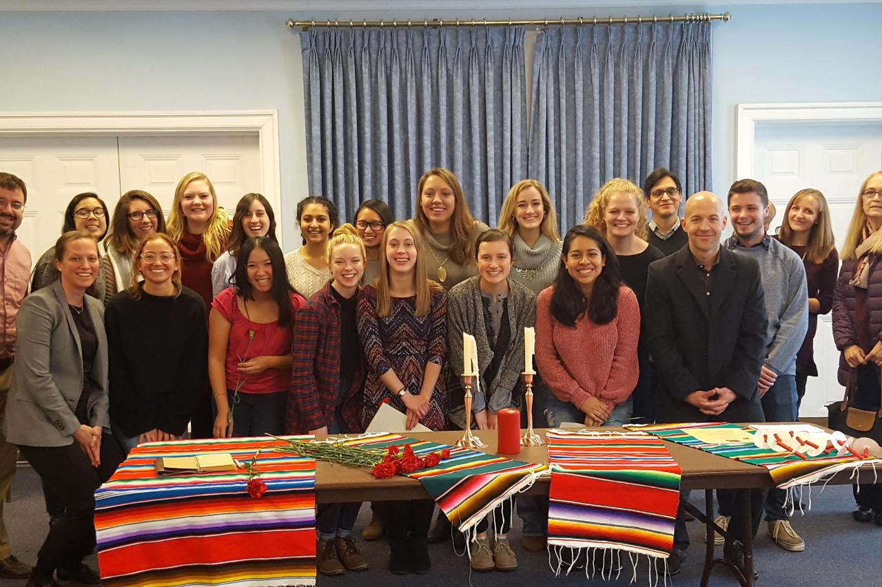 Group shot of Spanish faculty with new student members of Sigma Delta Pi.