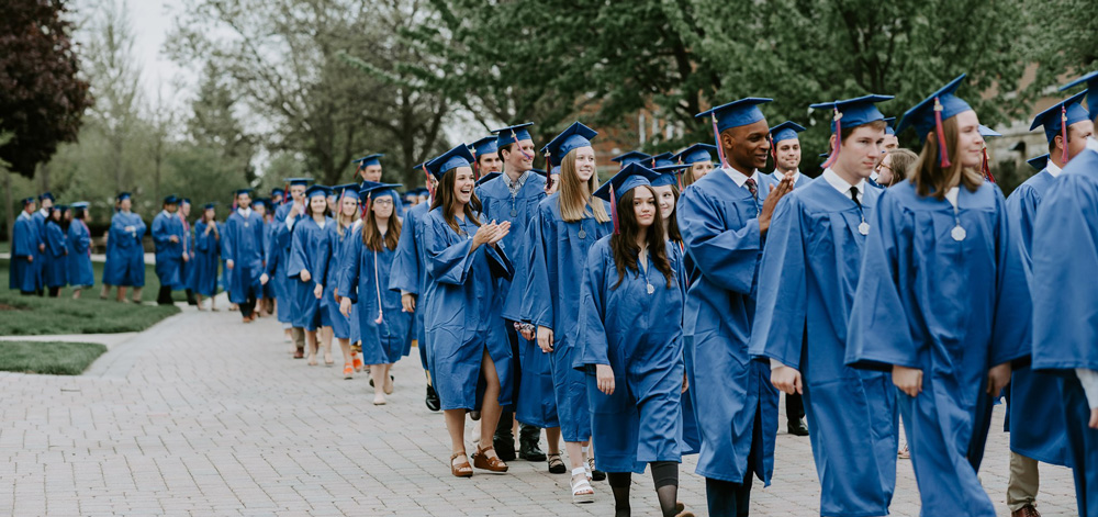 Students lining up for Commencement 2019